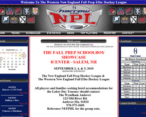 New England Prep Hockey League Flash Website Design By The Computer Guy